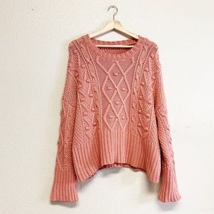 Zara Blush Cable Knit Oversized Sweater